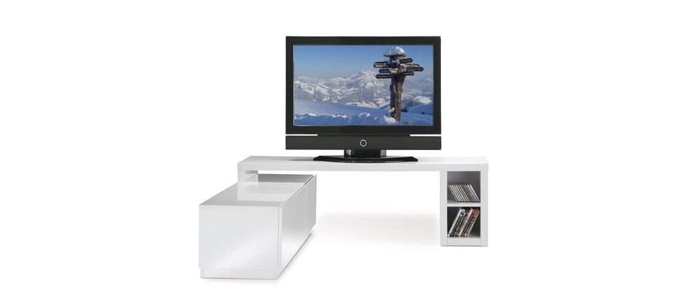 meuble tv design laqu blanc amovible troye miliboo. Black Bedroom Furniture Sets. Home Design Ideas