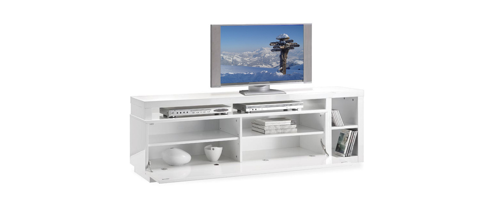 Meuble TV design laqué blanc amovible TROYE - Miliboo