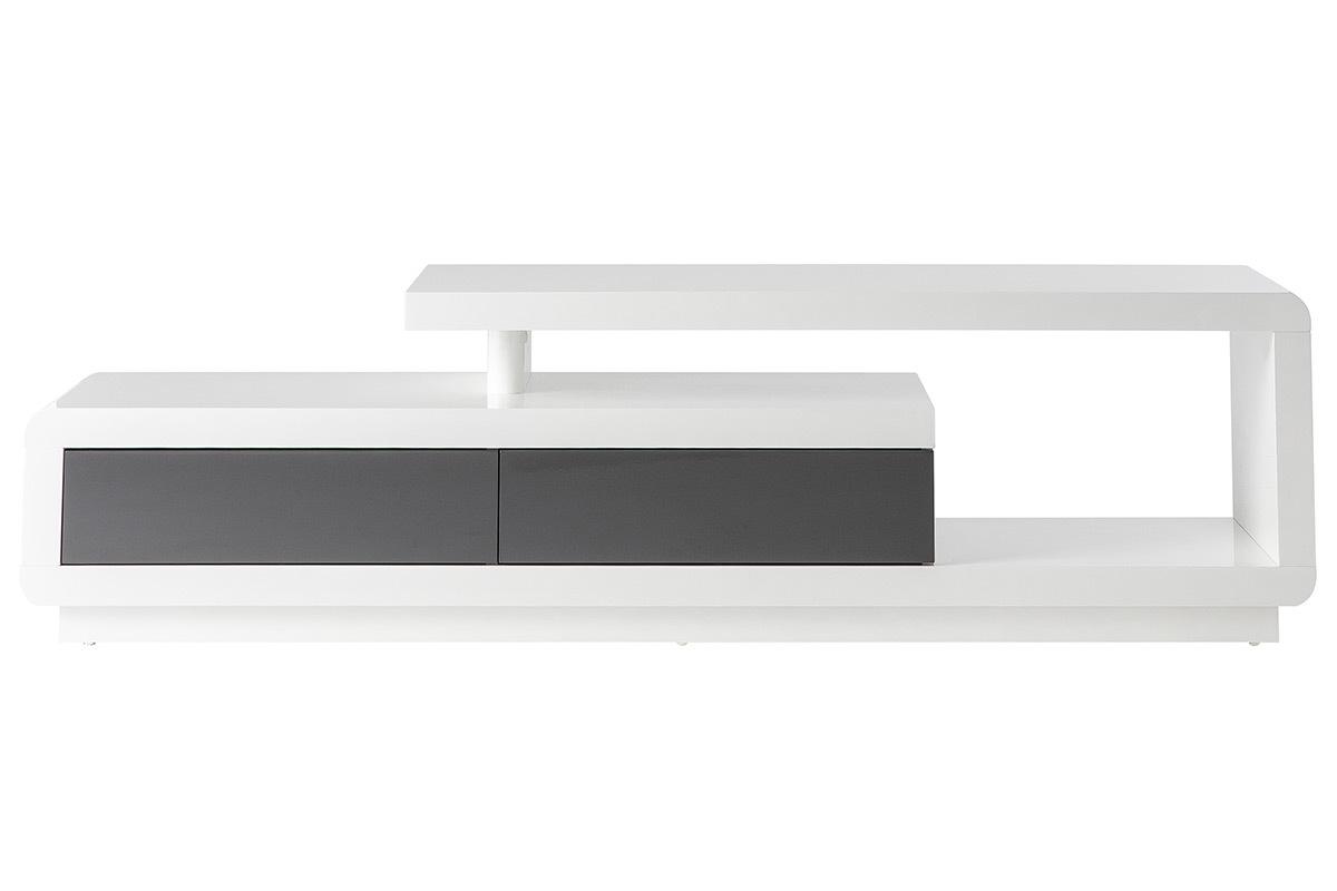 Meuble Tv Design Laque Blanc Avec Tiroirs Gris Etana Miliboo