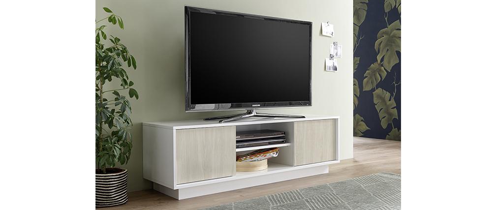 Meuble TV design laqué blanc brillant et effet chene L138 cm HERO