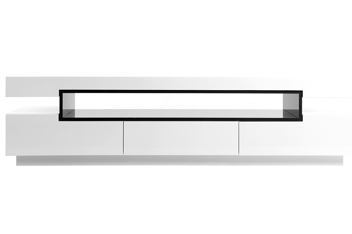Meuble tv design laqu blanc brillant livo miliboo for Meuble tv design laque