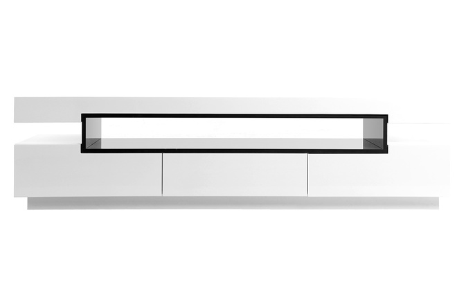 Meuble tv design laqu blanc brillant livo miliboo for Meuble tv long blanc