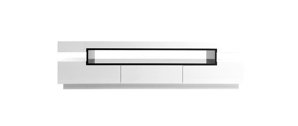 meuble tv design laqu blanc brillant livo miliboo. Black Bedroom Furniture Sets. Home Design Ideas