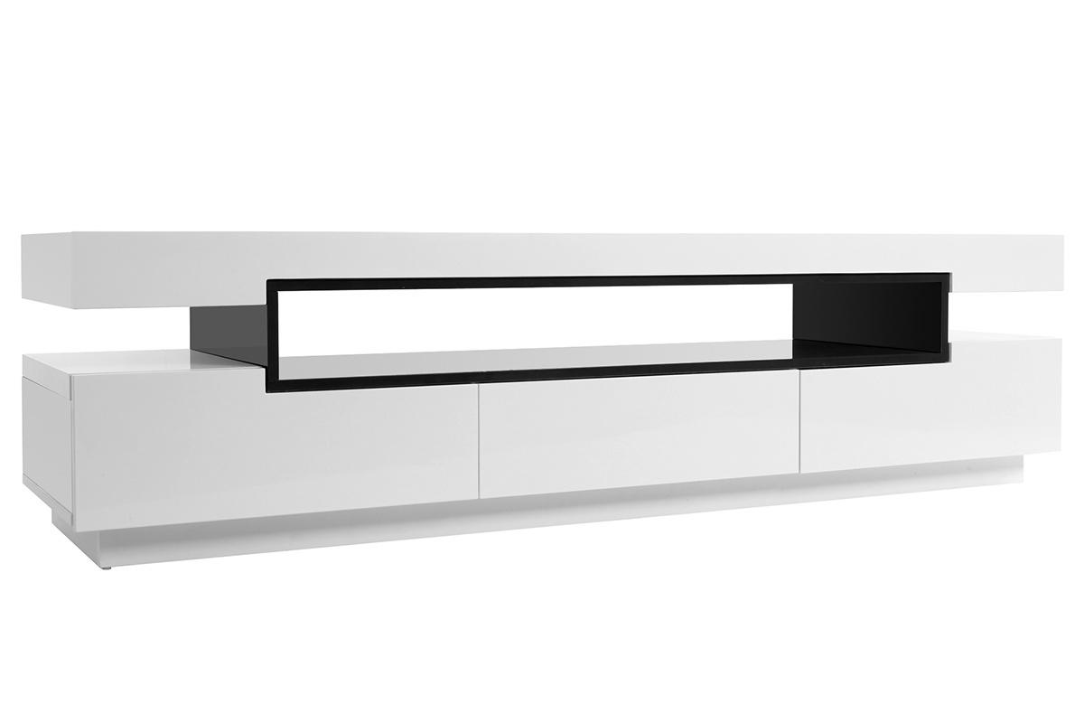Meuble TV design laqué blanc brillant LIVO - Miliboo