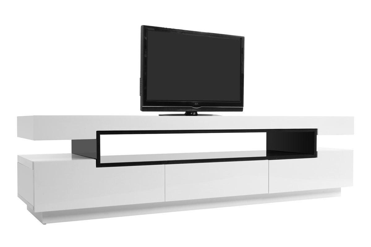 Meuble Tv Design Laque Blanc Brillant Livo Miliboo