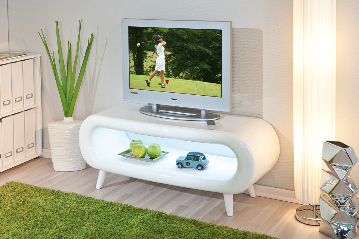 Meuble tv design laqu blanc clairage led seventies miliboo - Meuble tv design arrondi ...