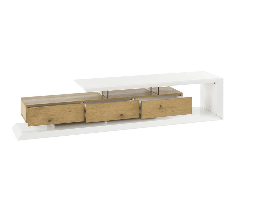 Meuble TV design laqué blanc et bois RITUEL - Miliboo
