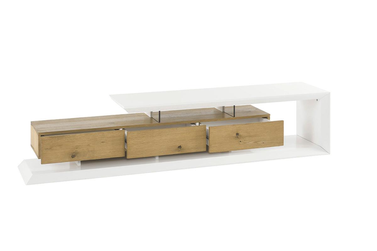 Objet Deco Laque Blanc meuble tv design laqué blanc et bois rituel - miliboo