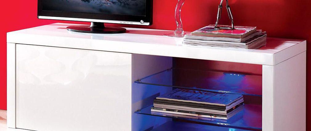 meuble tv design laque blanc venus meuble tv design laqu blanc et led voka - Meuble Tv Laque Blanc Hudson