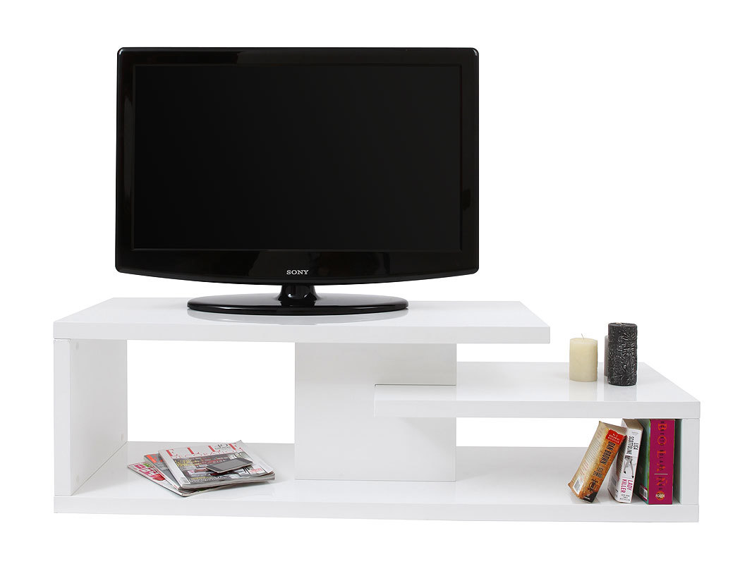 Meuble tv design laqu blanc halton miliboo for Meuble television design