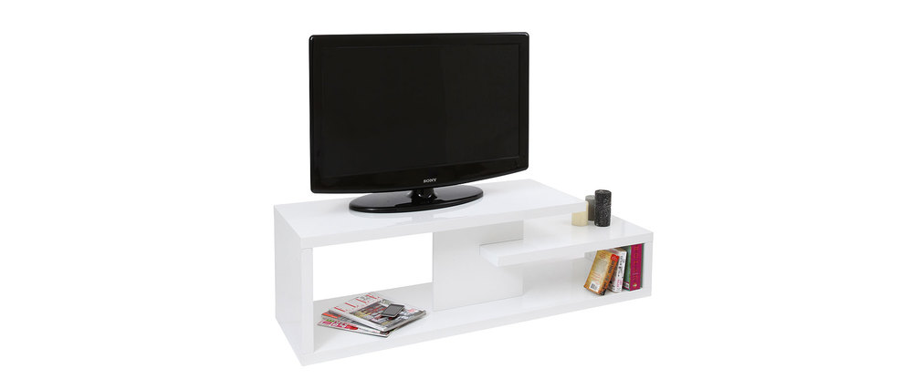 Meuble tv design laqu blanc halton miliboo - Meuble ceruse blanc technique ...