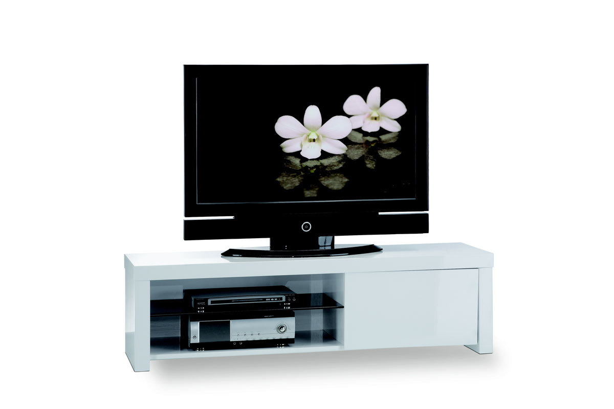 Meuble tv design laqu blanc illio miliboo for Meuble tv blanc design