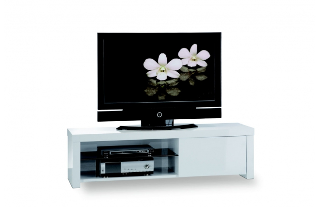 Meuble tv living blanc laque for you meilleure for Meuble tv living