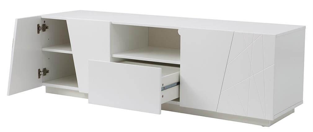 Meuble TV design laque blanc mat ALESSIA
