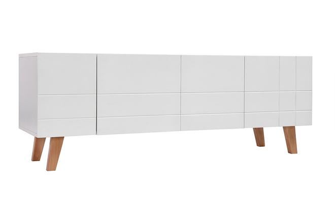 Meuble TV design laqué blanc mat et bois ADORNA - Miliboo