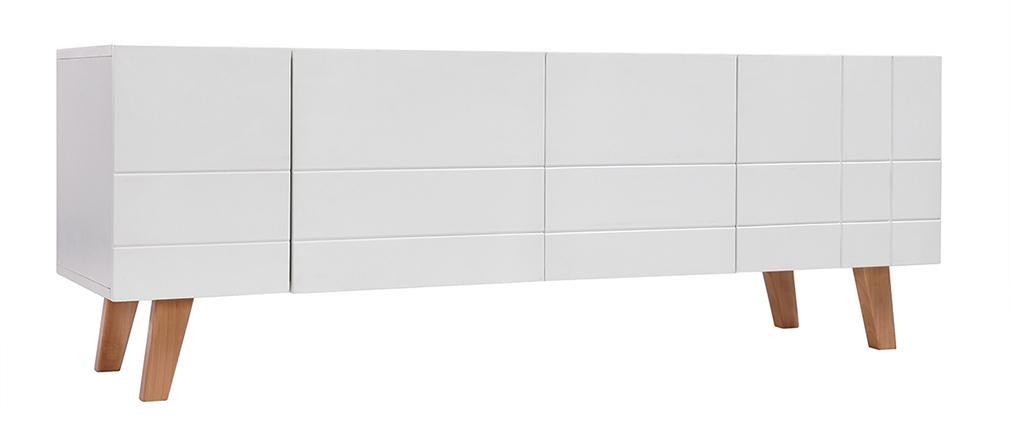 Meuble Tv Blanc Et Bois : Meuble Tv Design Laqué Blanc Mat Et Bois Adorna, Aspect Technique