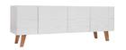 Meuble TV design laqué blanc mat et bois ADORNA