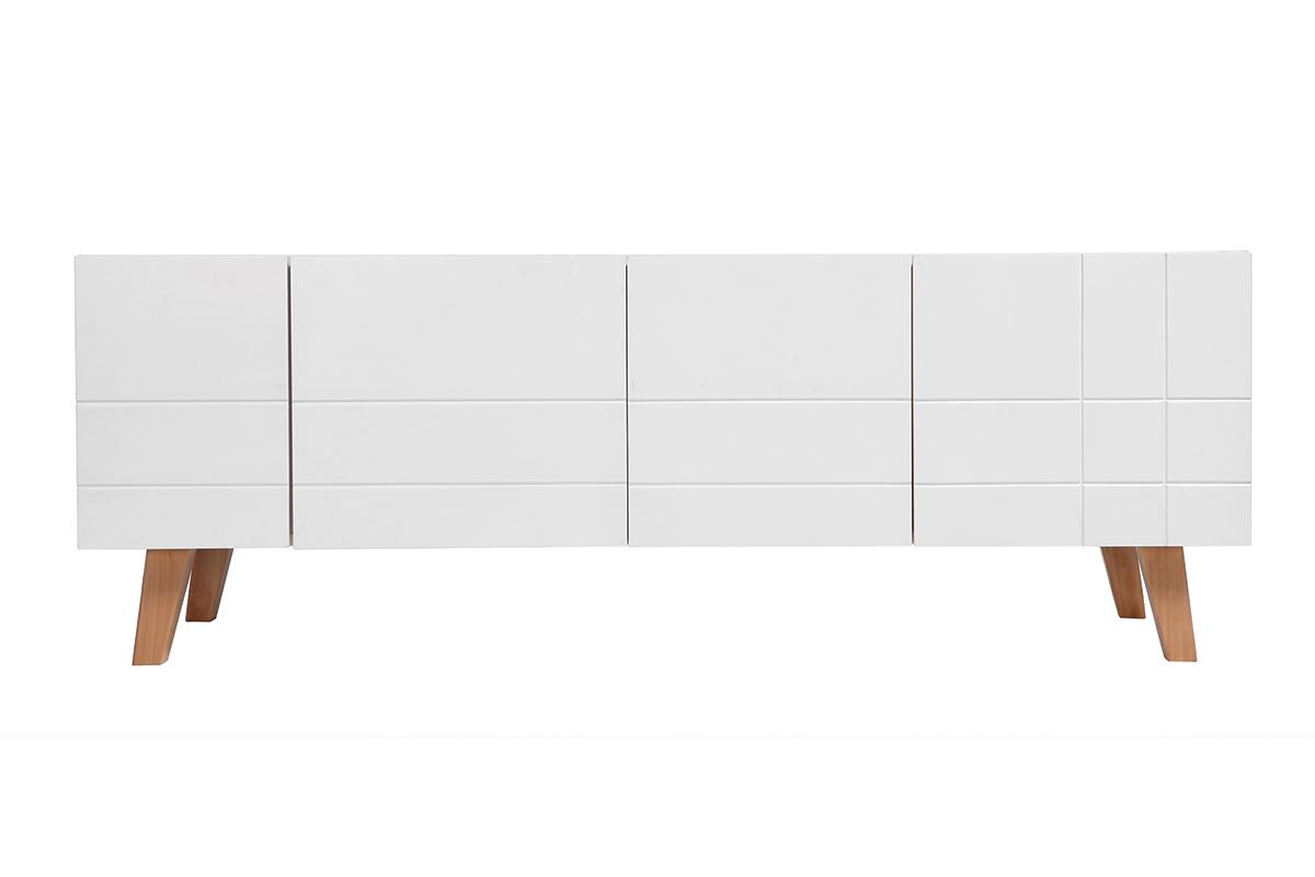 Meuble tv design blanc laque et bois willow solutions for Laque meuble bois