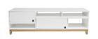 Meuble TV design laqué blanc mat et bois SKAL