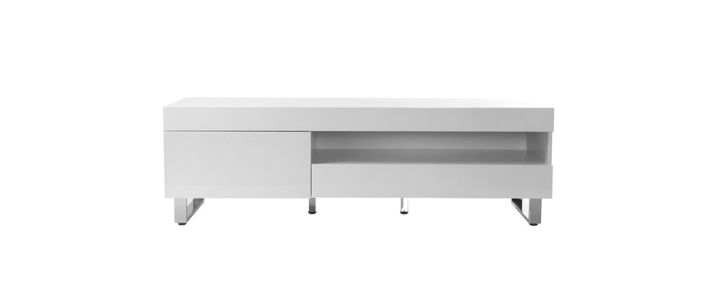 Meuble TV design laqué blanc MELHA, aspect technique :