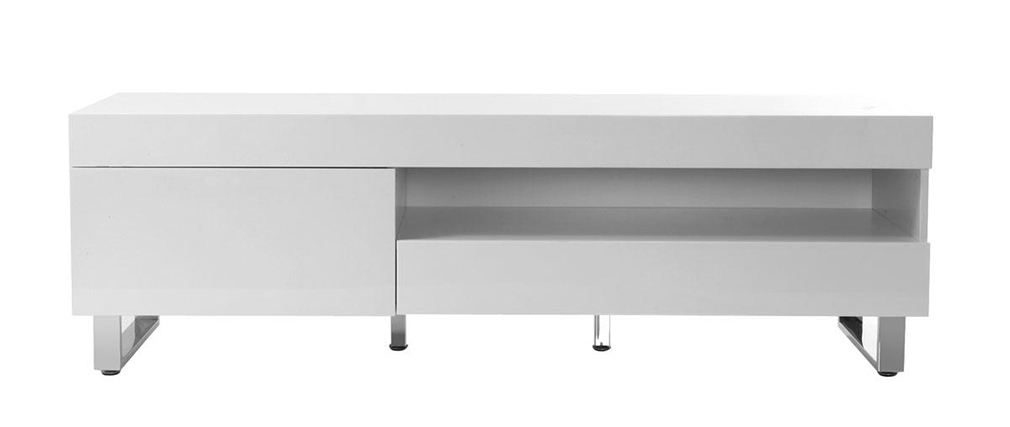 Meuble Tv Blanc Laque Habitat : Meuble Tv Design Laqué Blanc Melha, Aspect Technique