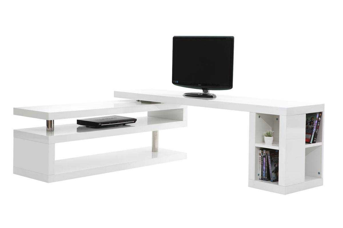 Meuble tv design laqu blanc pivotant max miliboo for Meuble blanc laque