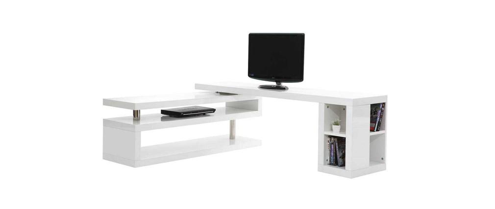 Meuble TV design laqué blanc pivotant MAX  Miliboo -> Meuble Tv Design Blanc New York
