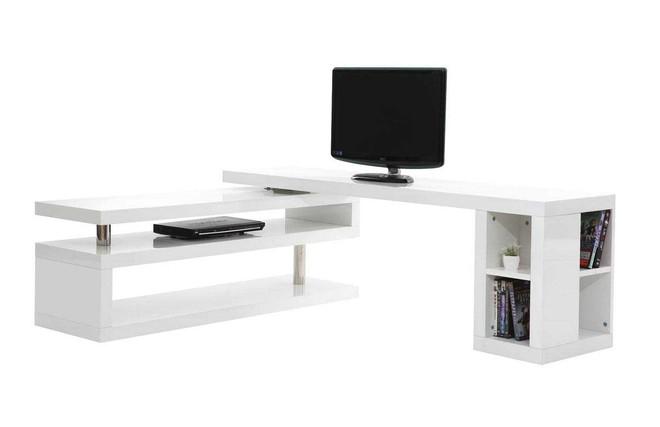 Meuble TV design laqué blanc pivotant MAX  Miliboo -> Meuble Tv Blanc Laqué Max Accueil