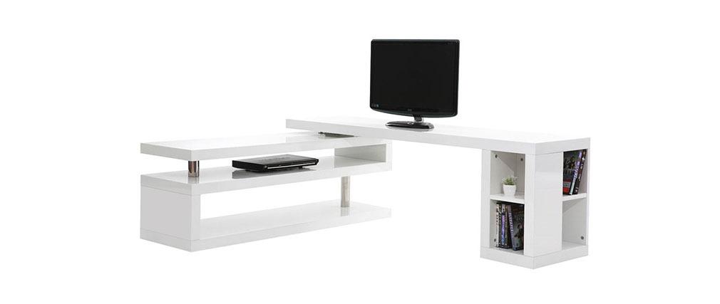 Meuble TV design laqué blanc pivotant MAX