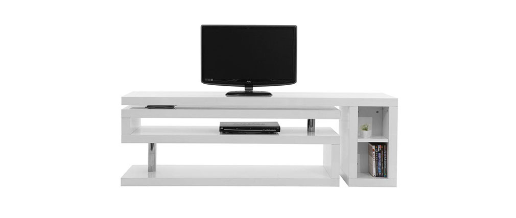Meuble tv design laqu blanc pivotant max miliboo for Meuble tv tablette