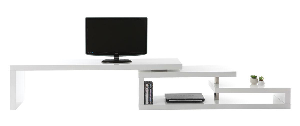 Meuble tv design laqu blanc pivotant max v2 miliboo - Meuble tv blanc laque design ...