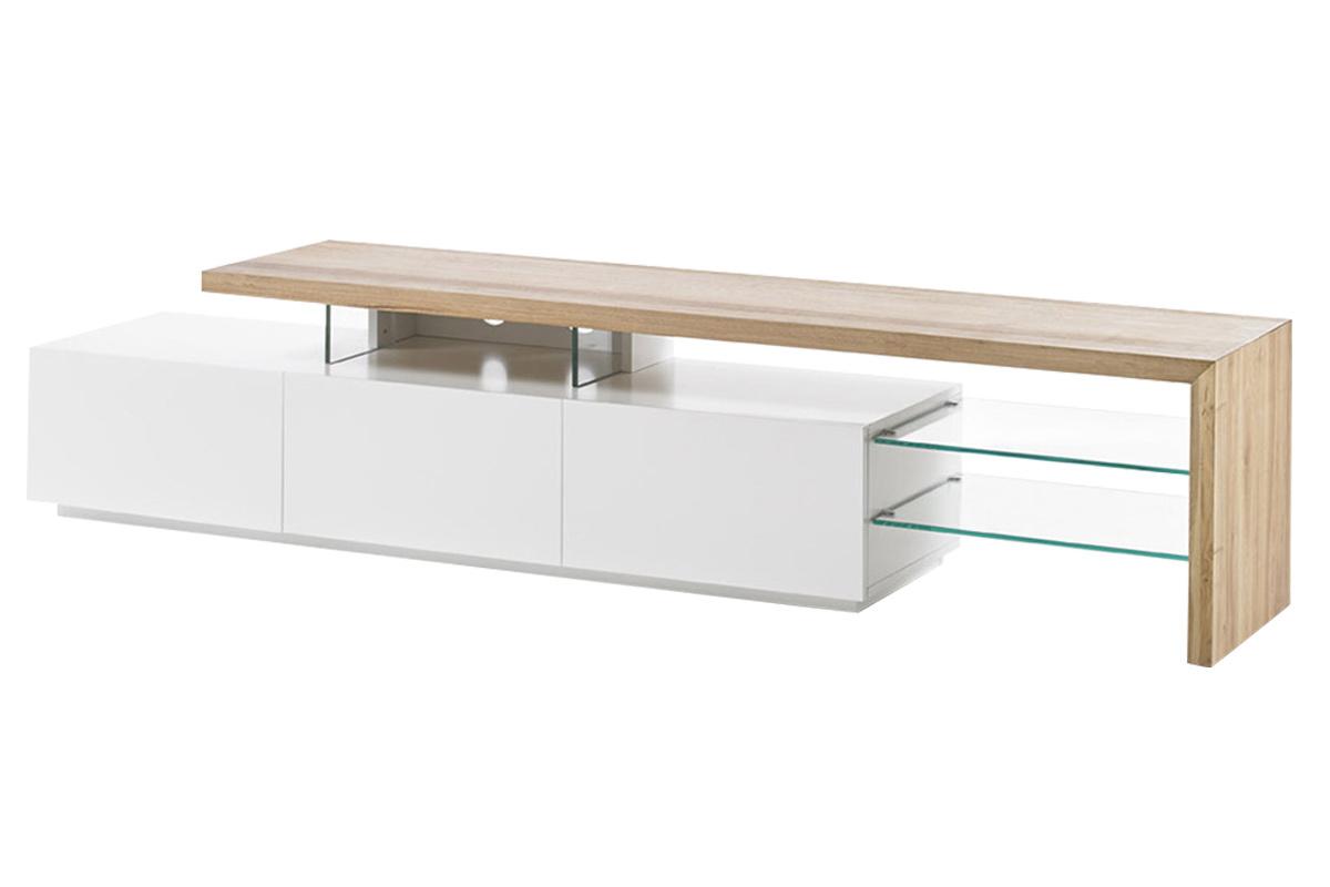 Meuble Tv Design Laque Blanc Plateau Chene 204 Cm Media