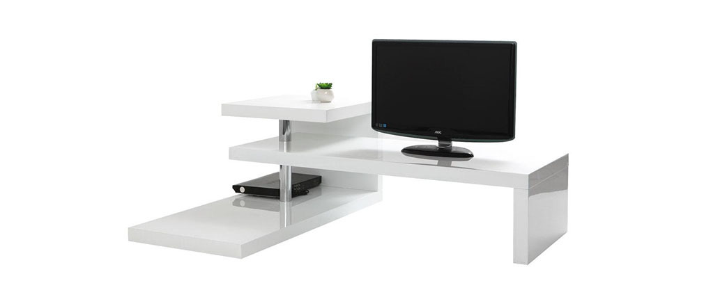 Meuble tv design laqu blanc turn miliboo - Meuble tv miliboo ...
