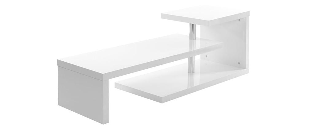 Meuble TV design laqué blanc TURN