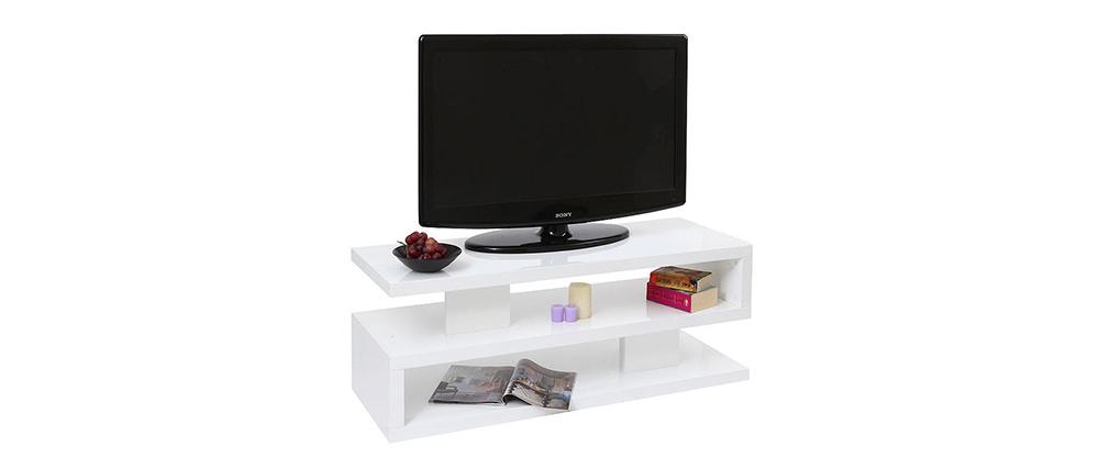 Meuble TV design laqué brillant blanc NEXY