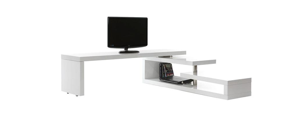 Meuble TV design laqué brillant blanc pivotant MAX V2
