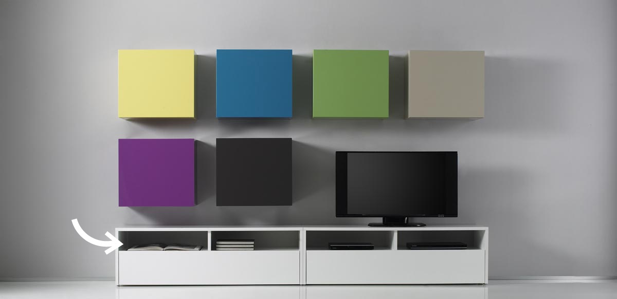 Meuble Tv Bas Merisier : Meuble Tv Design Laqué Colored Blanc – Miliboo