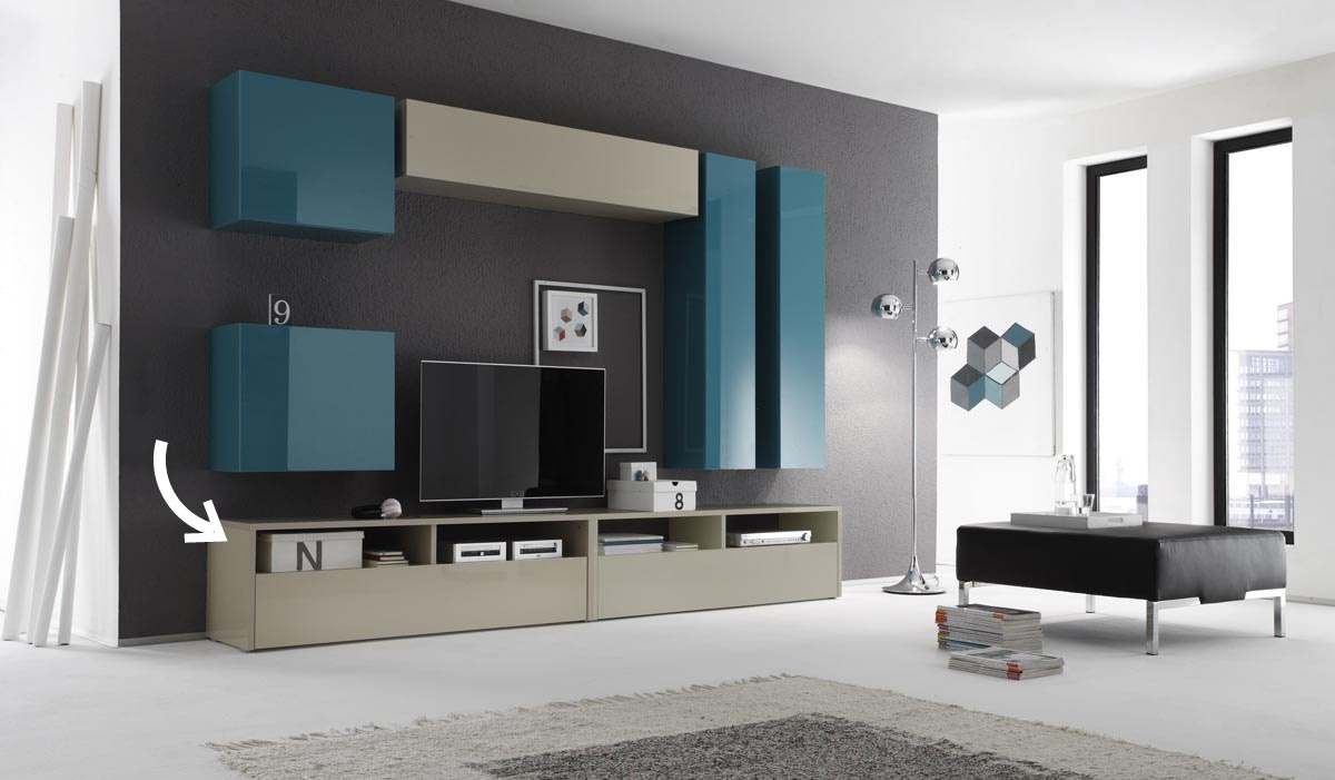 Meuble tv design laqu colored ecru miliboo - Meuble tv taupe design ...