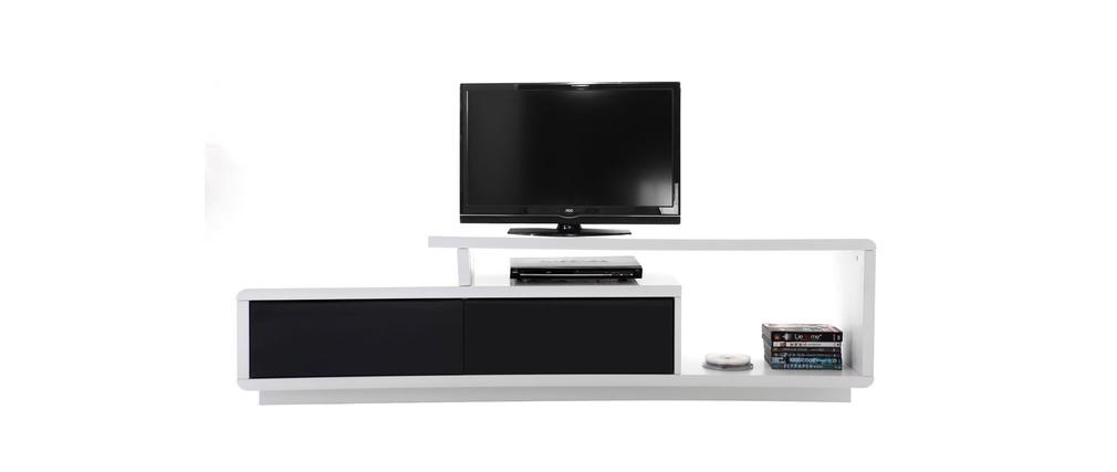 Meuble tv blanc laqu en soldes - Meuble tv blanc et noir laque ...