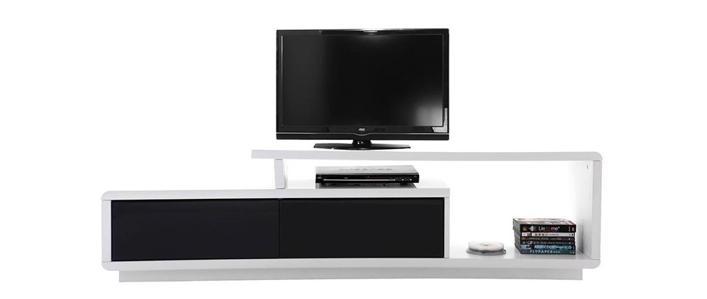 Meuble tv design laqu noir et blanc davy miliboo for Meuble tv en coin design