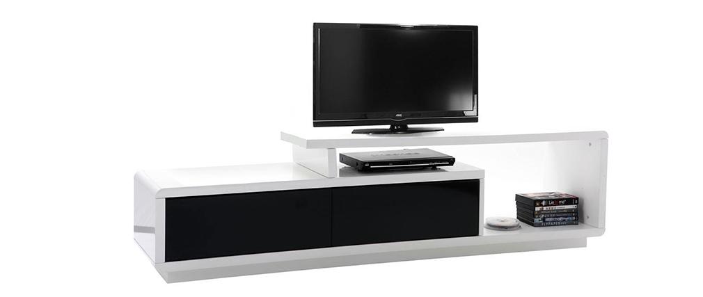 Meuble tv design laque blanc et noir quadra id es de - Meuble noir et blanc laque ...