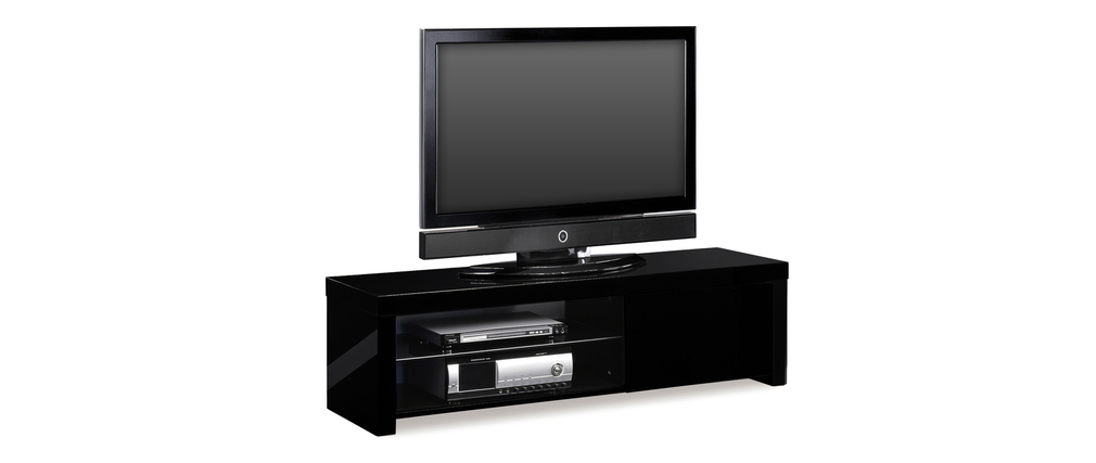 Meuble tv design laqu noir new york miliboo for Meuble tv york