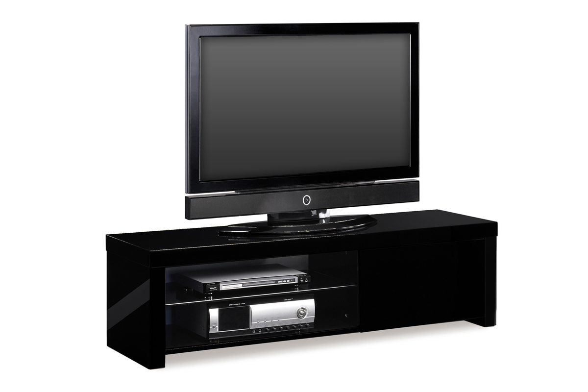 Meuble tv design laqu noir new york miliboo for Meuble tv haut noir