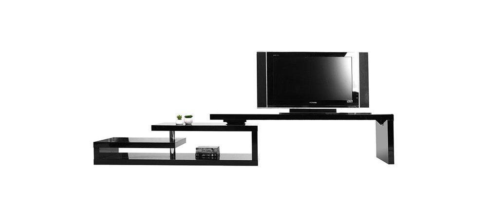 Meuble tv design laqu noir pivotant max v2 miliboo - Meuble tv noir laque ...