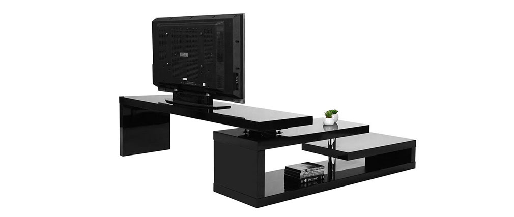 meuble tv design laqu noir pivotant max v2 miliboo. Black Bedroom Furniture Sets. Home Design Ideas