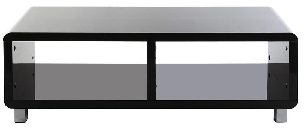 Meuble tv design laqu noir pixy miliboo for Meuble tv noir laque fly