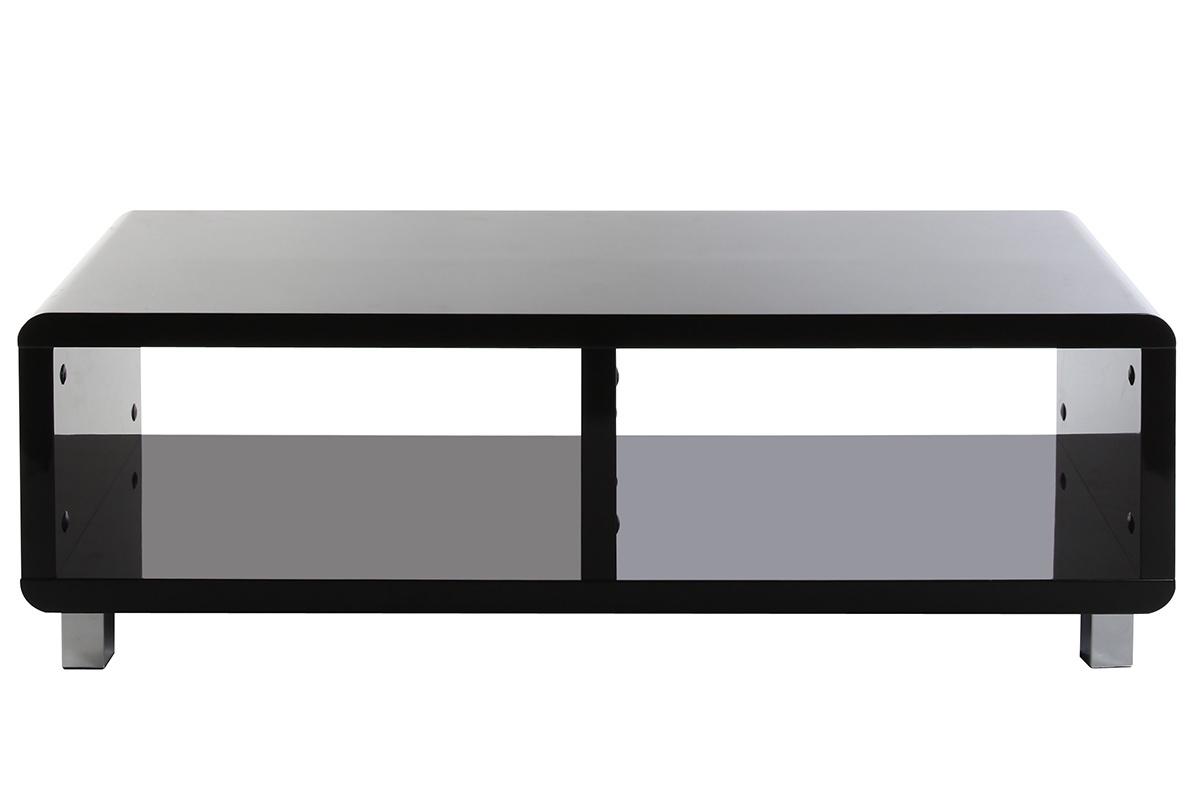 Meuble tv design laqu noir pixy - Petit meuble noir laque ...
