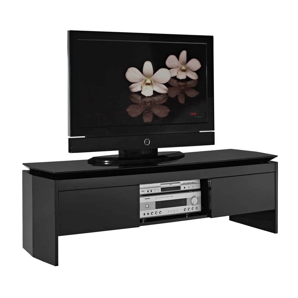 meuble tv design laqu noir telio miliboo. Black Bedroom Furniture Sets. Home Design Ideas