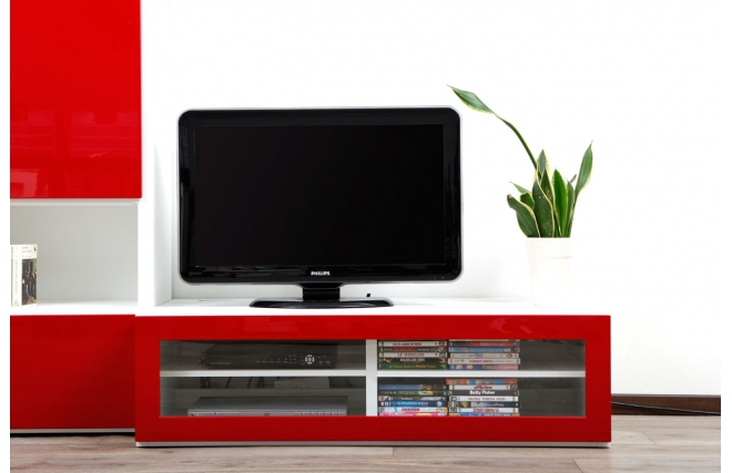 meuble tv design lumineux m blanc et rouge laqu symbiosis miliboo. Black Bedroom Furniture Sets. Home Design Ideas