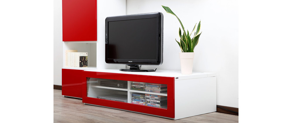 Meuble tv rouge et blanc hoze home for Meuble tv rouge